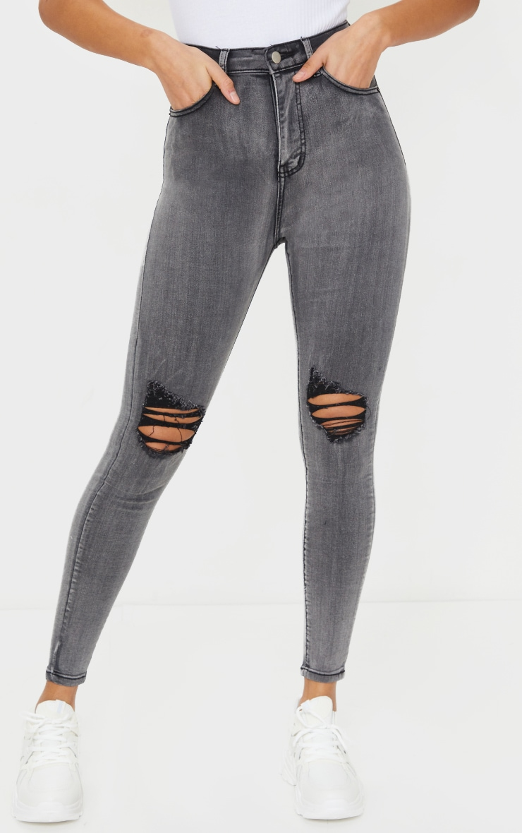 PRETTYLITTLETHING Grey 5 Pocket Knee Rip Skinny Jeans 2