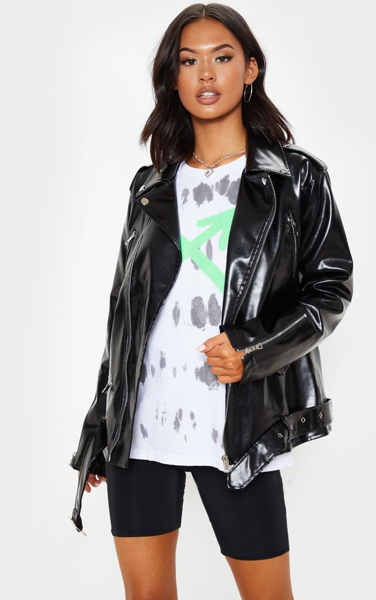 Black Oversized PU Biker Jacket 1