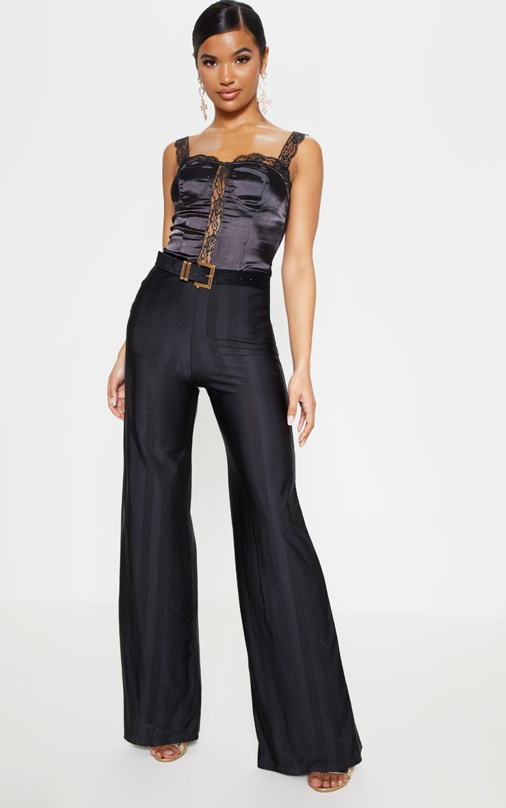 Black Disco Stripe Casual Wide Leg Trouser 1
