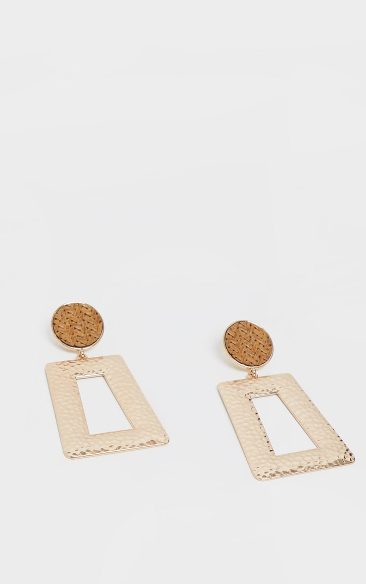 Gold Woven Raffia Stud Door Knocker Earrings 2