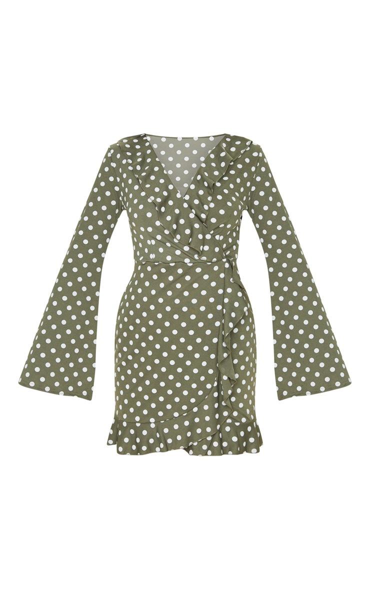 Green Polka Dot Long Sleeve Wrap Tea Dress 3