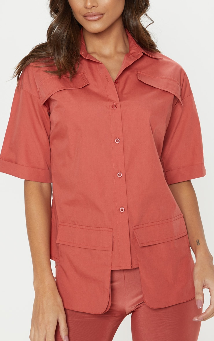 Burnt Orange Cargo Pocket Short Sleeve Shirt 5