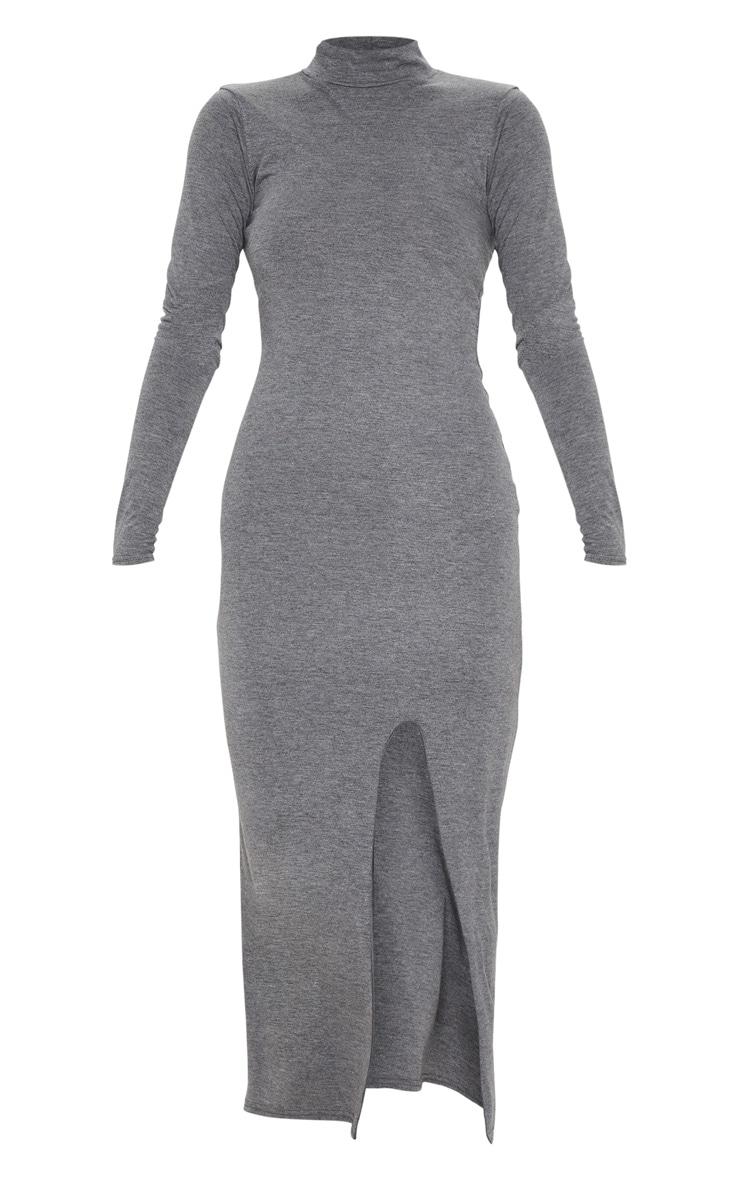 Grey Long Sleeve High Neck Split Front Midi Dress 3
