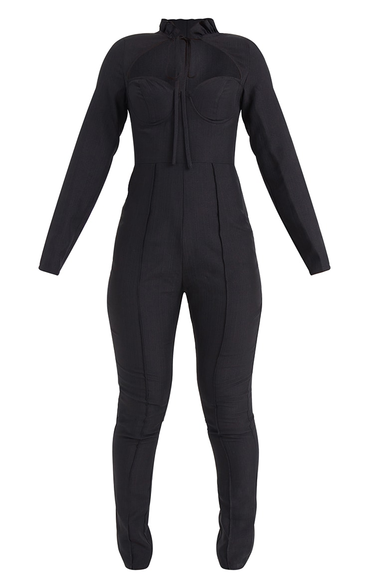 Black Tie Neck Cup Detail Long Sleeve Jumpsuit 5