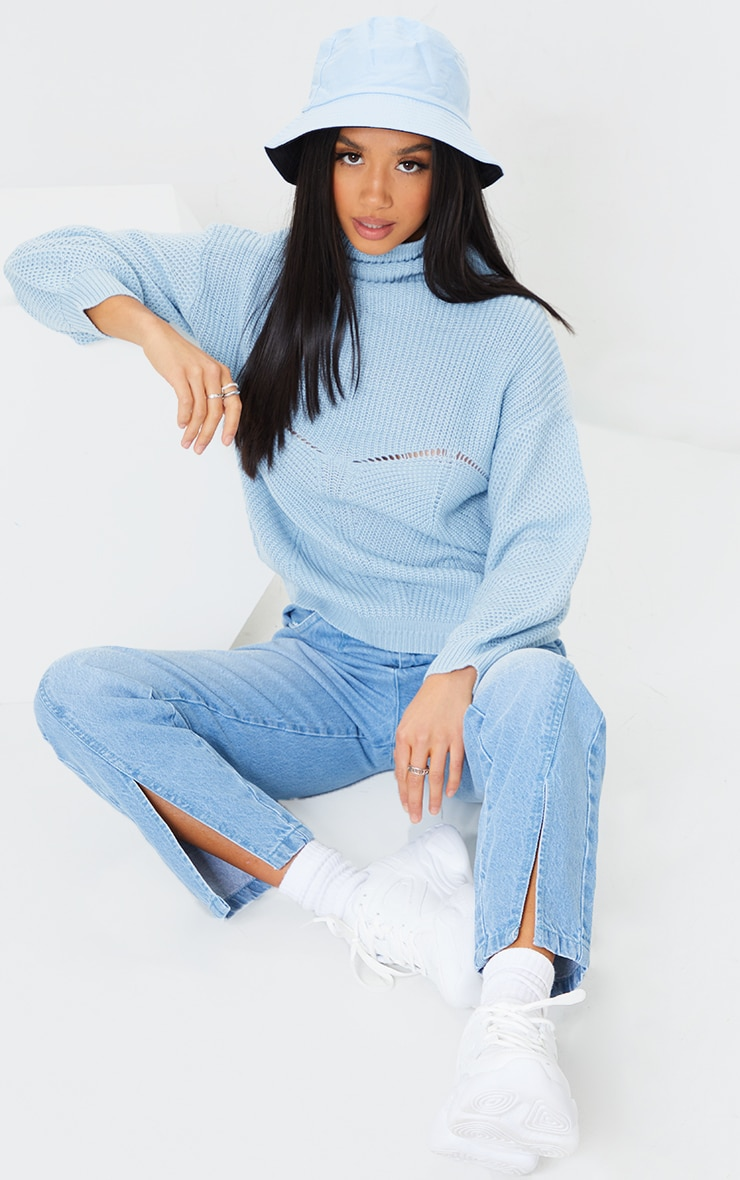 Petite Blue Pointelle Detail Knitted Sweater 3