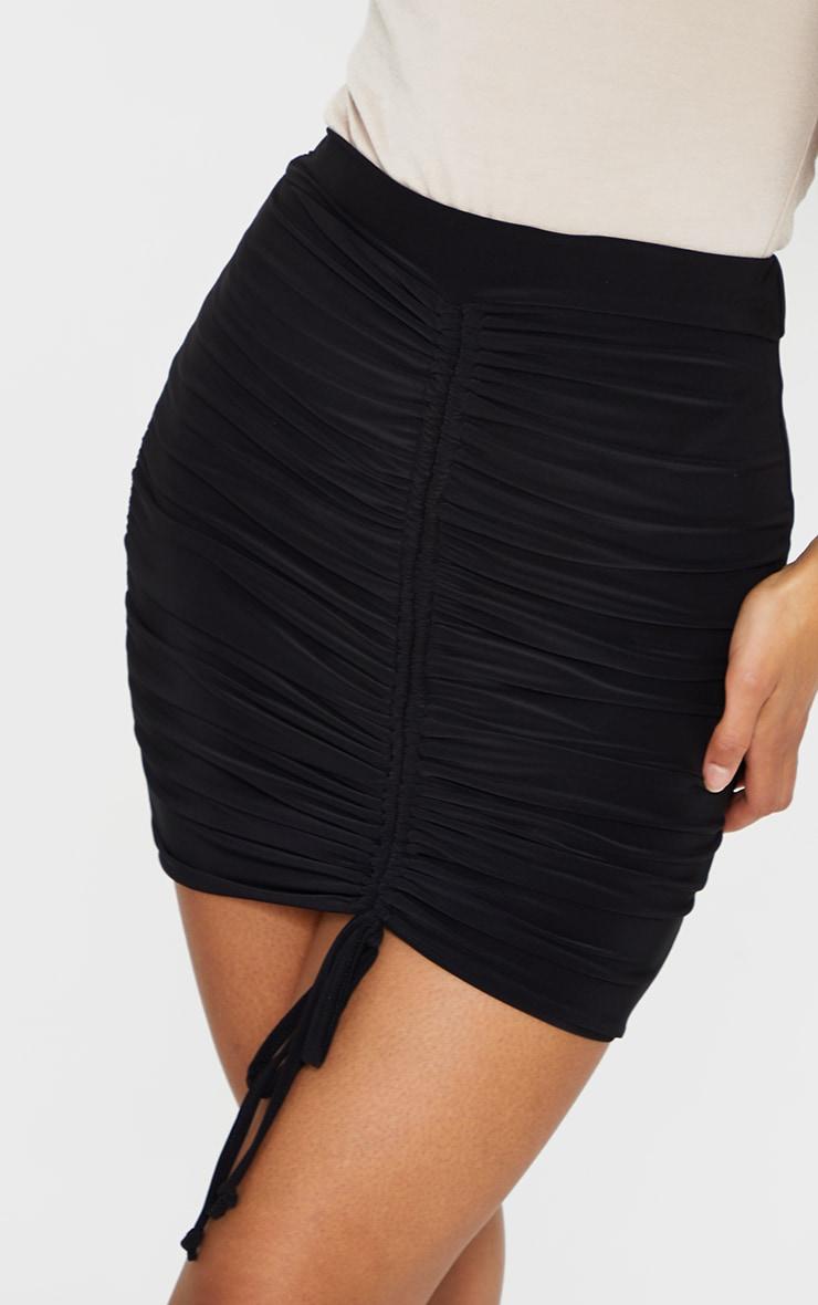 Black Ruched Front Slinky Mini Skirt 5