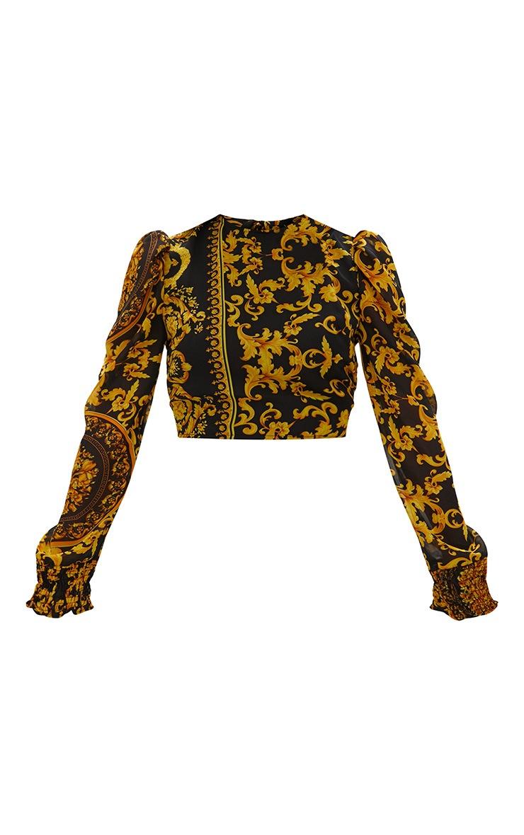 Black Baroque Print Puff Sleeve Tie Back Shirt  3