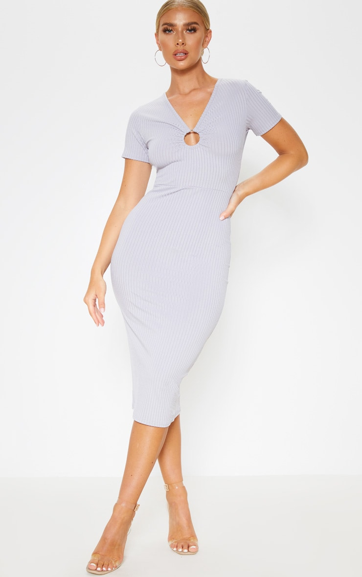 Grey Ribbed Short Sleeve Ring Detail Midi Dress 1