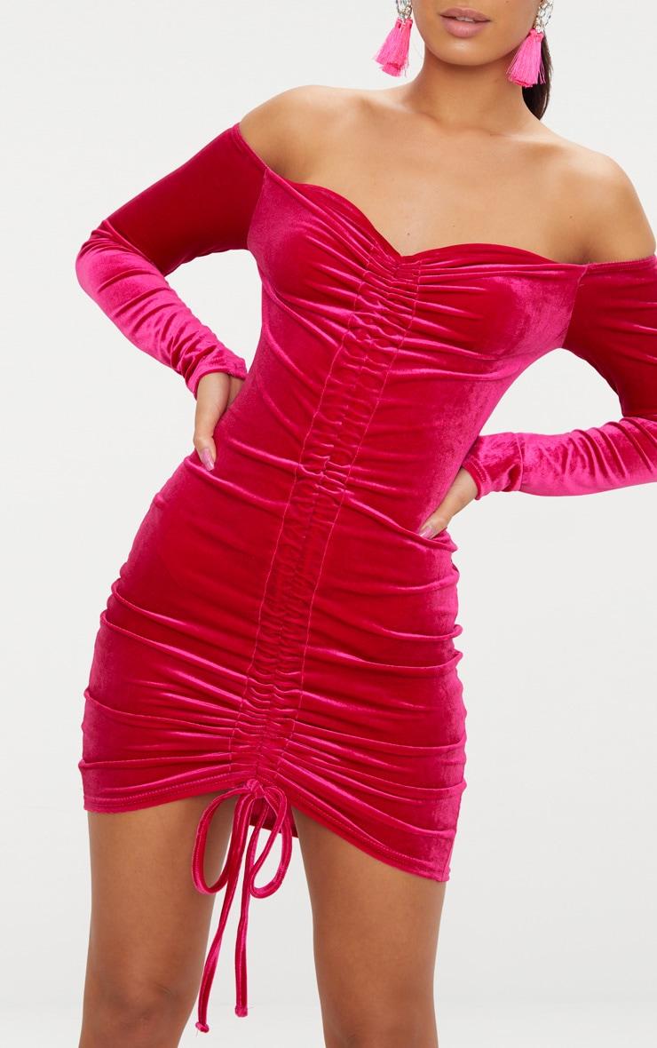 Pink Velvet Bardot Long Sleeve Ruched Bodycon Dress 5