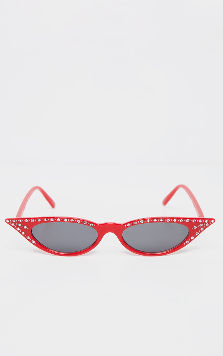 Red Diamante Pointy Cat Eye Sunglasses     2