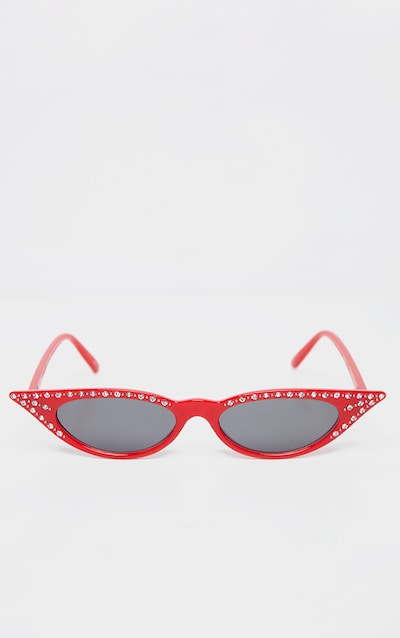 Red Diamante Pointy Cat Eye Sunglasses