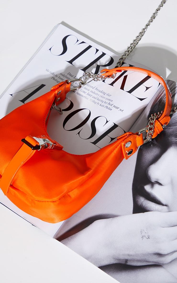 Orange Nylon Rounded Front Silver Buckle Shoulder Bag 2