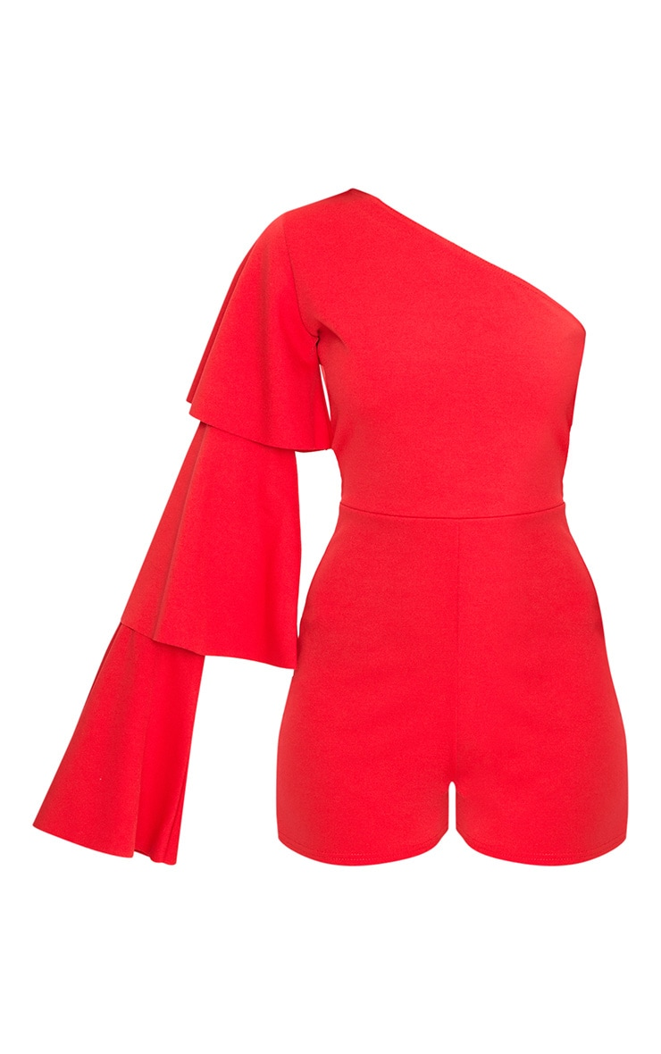 Red One Arm Frill Playsuit  3