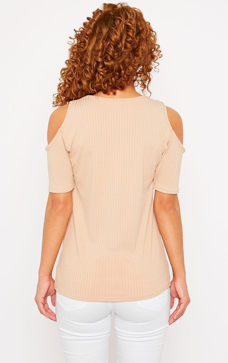 Basic Camel Cut Out Shoulder Tee 2