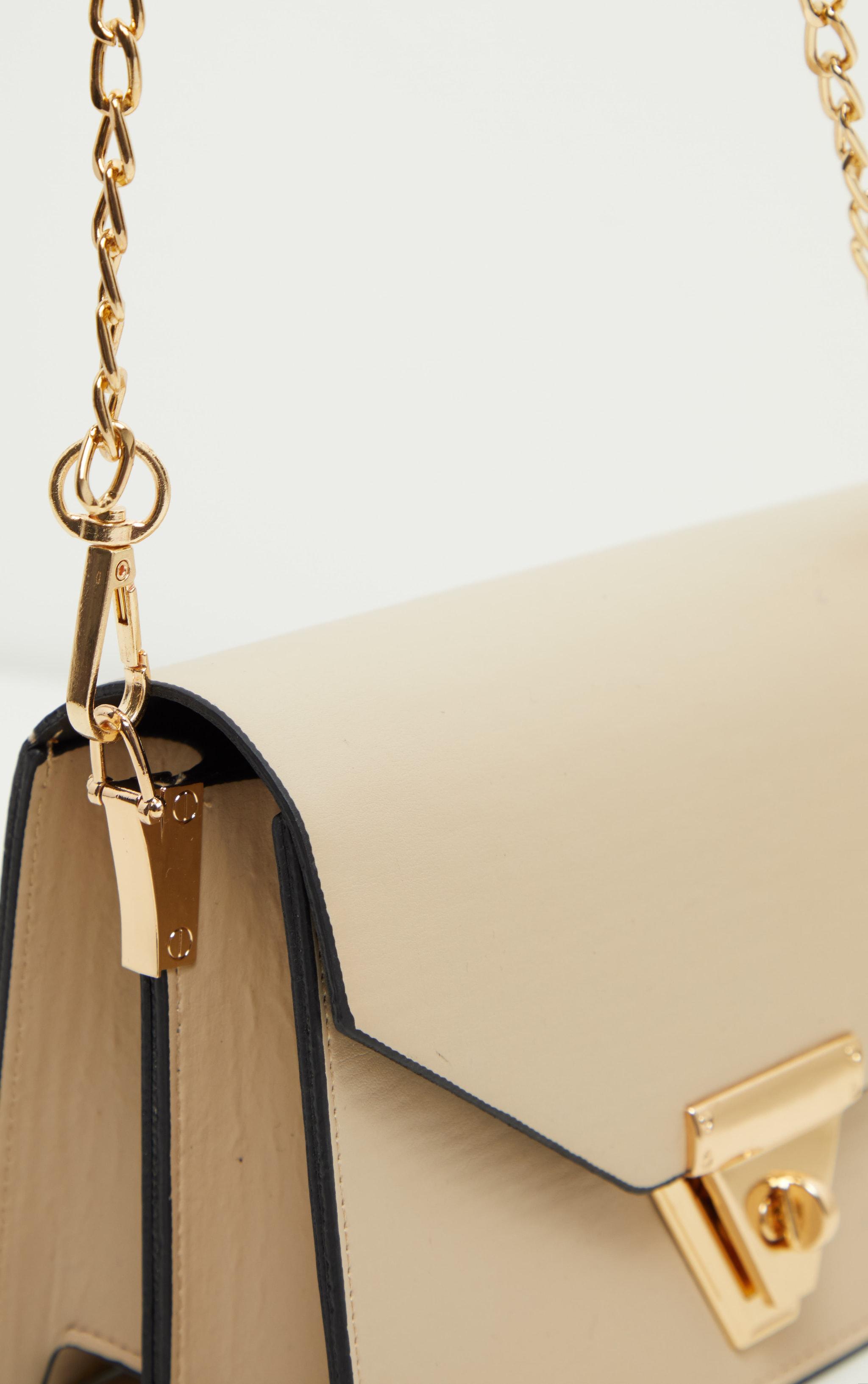 Sac enveloppe en similicuir beige à bandoulière 3