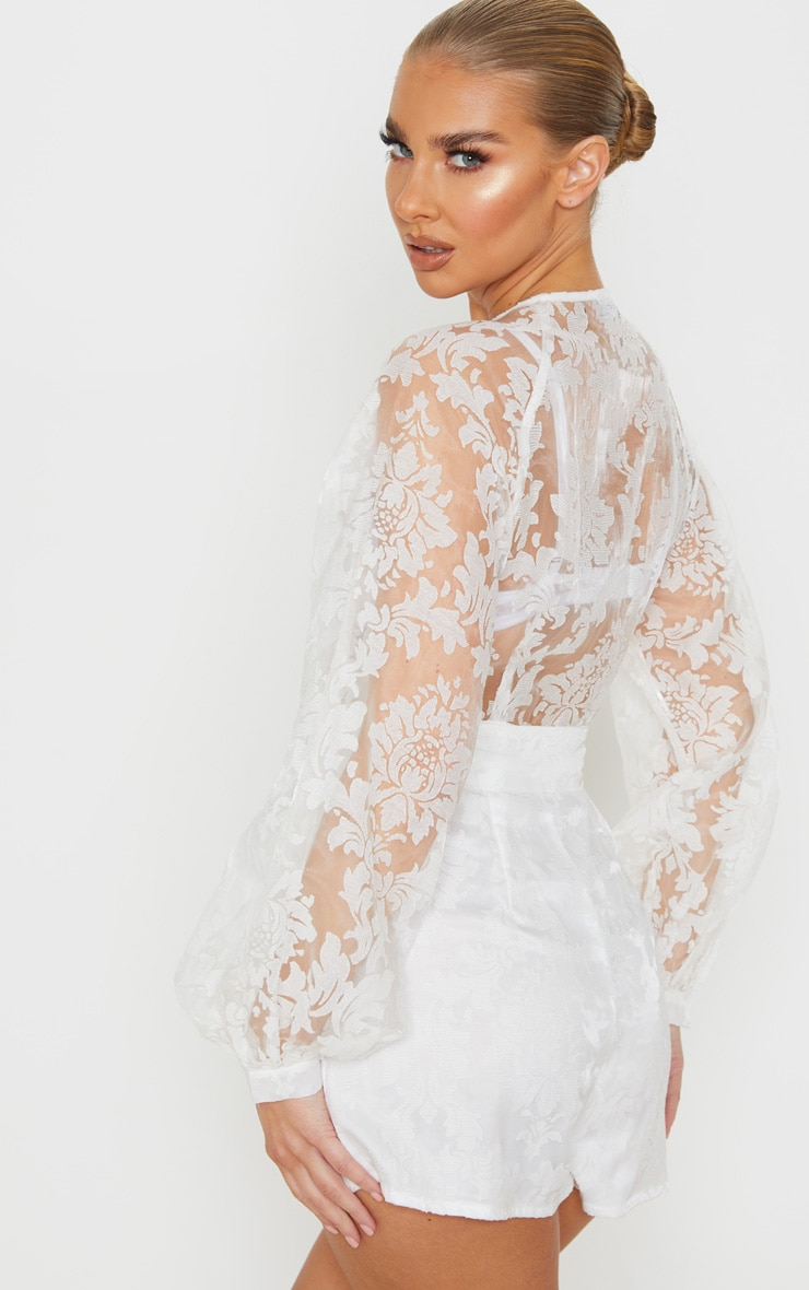 White Delicate Lace Long Sleeve Tie Neck Playsuit 3