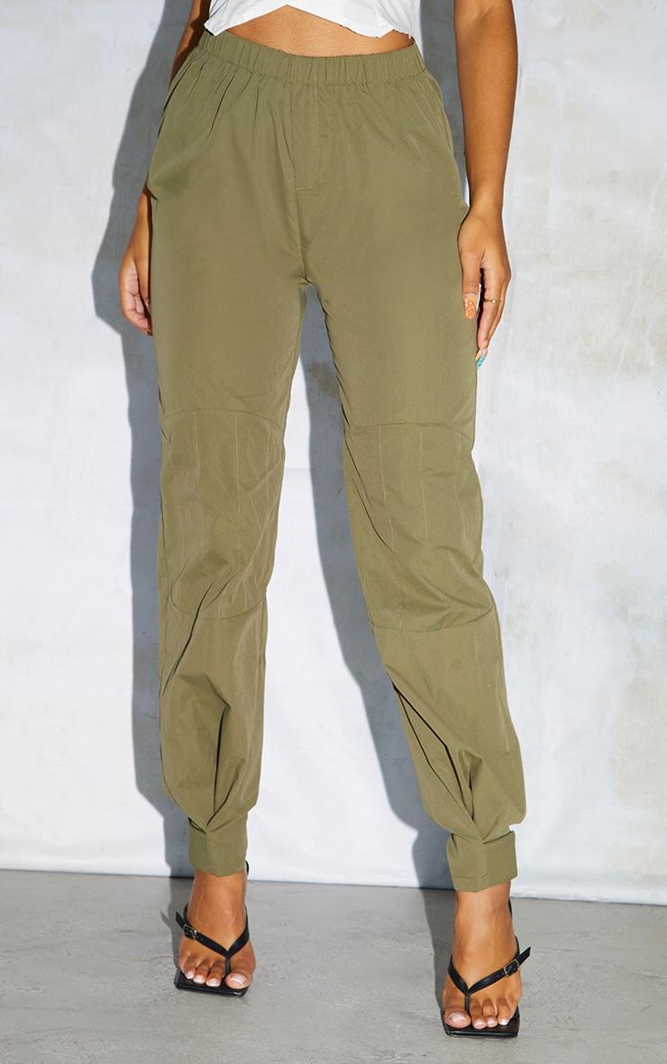 Khaki Woven Button Velcro Ankle Trousers 2