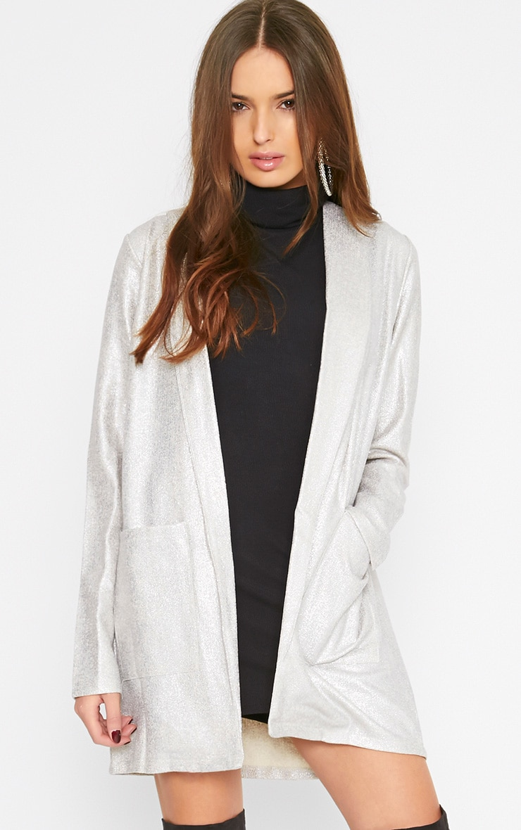 Gabby Silver Iridescent Longline Blazer 4