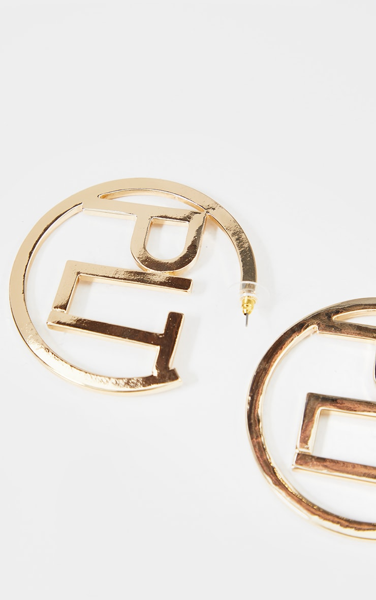 PRETTYLITTLETHING Gold Hooped Earrings 3