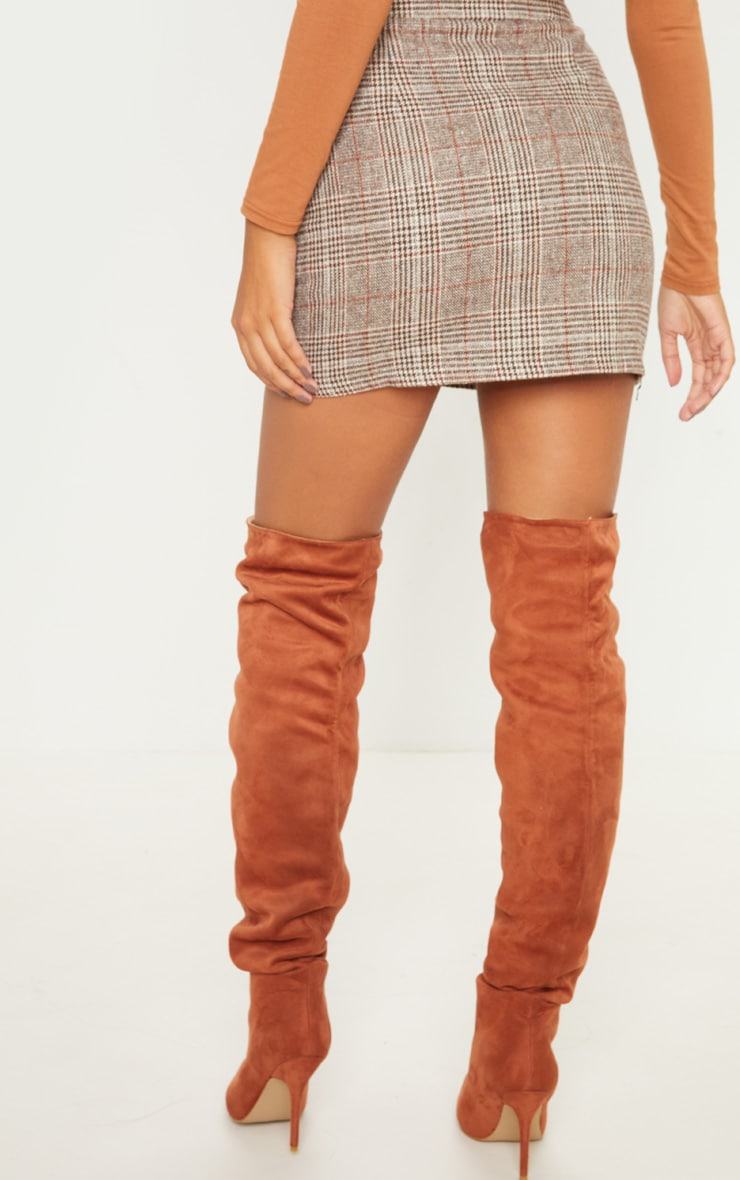 Brown Check Button Detail Mini Skirt 3