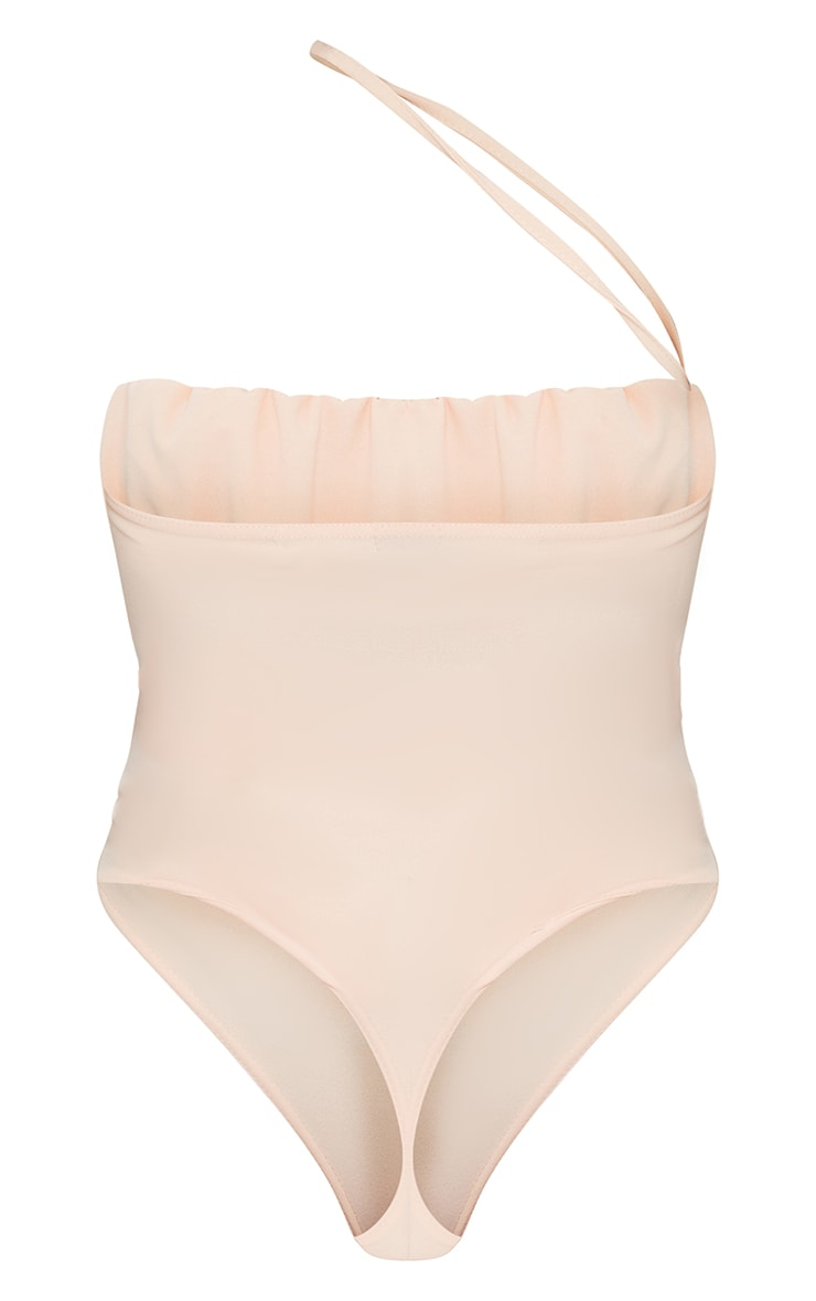Nude Crepe Ruched Bust Cross Strap Bodysuit 6