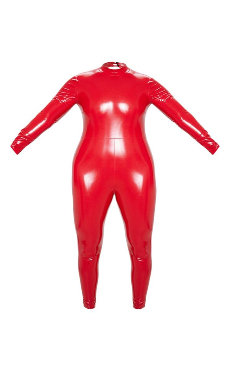 Plus Red Backless Vinyl Long Sleeve Unitard  3