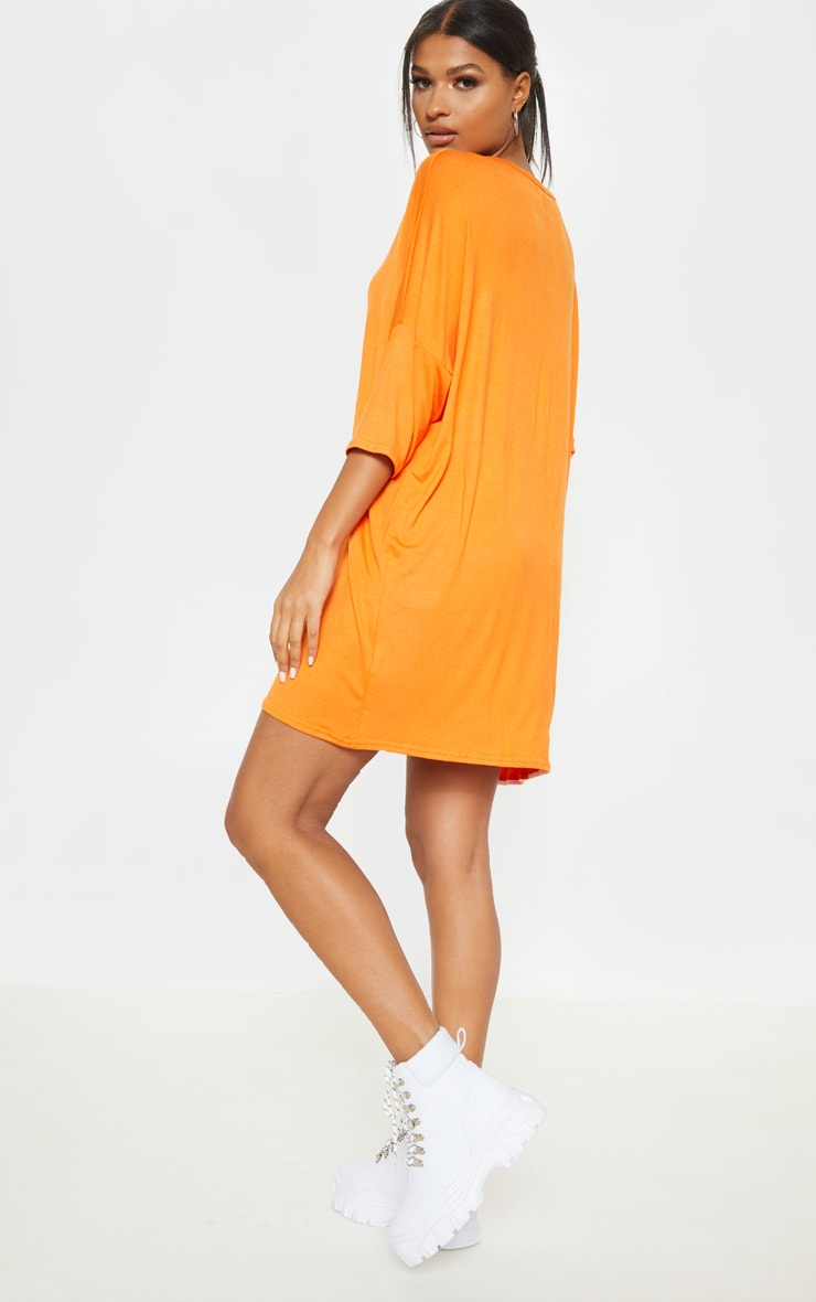 Tangerine Oversized Batwing T Shirt Dress 2