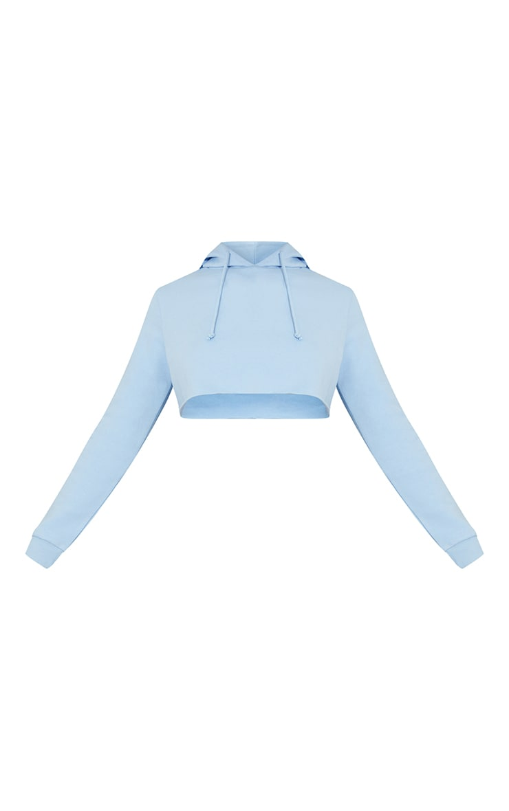 Hoodie slim court bleu clair basique 5