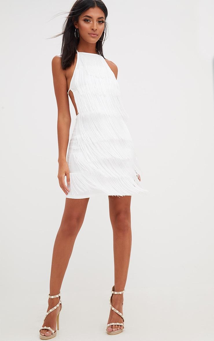 White Tassel Detail Halterneck Bodycon Dress 4