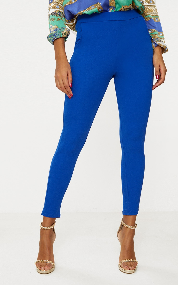 Blue Crepe Skinny Trousers 2