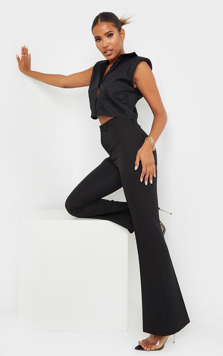 Black Woven Shoulder Pad Cropped Sleeveless Shirt 3