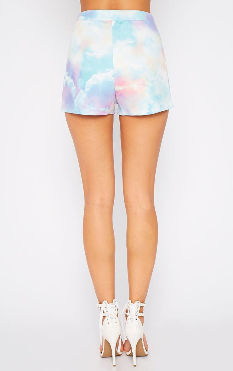 Xena Cloud Print Loose Fit Mini Shorts 4
