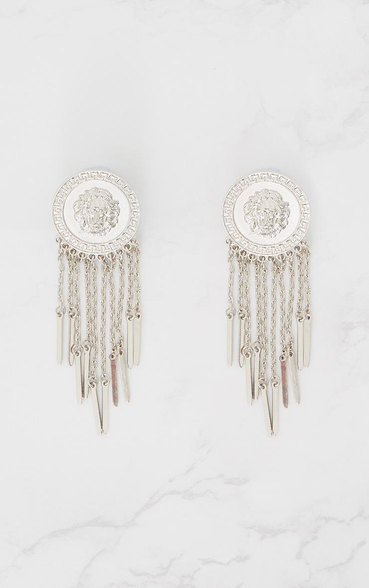 Silver Lion Disc Tassel Earrings 3