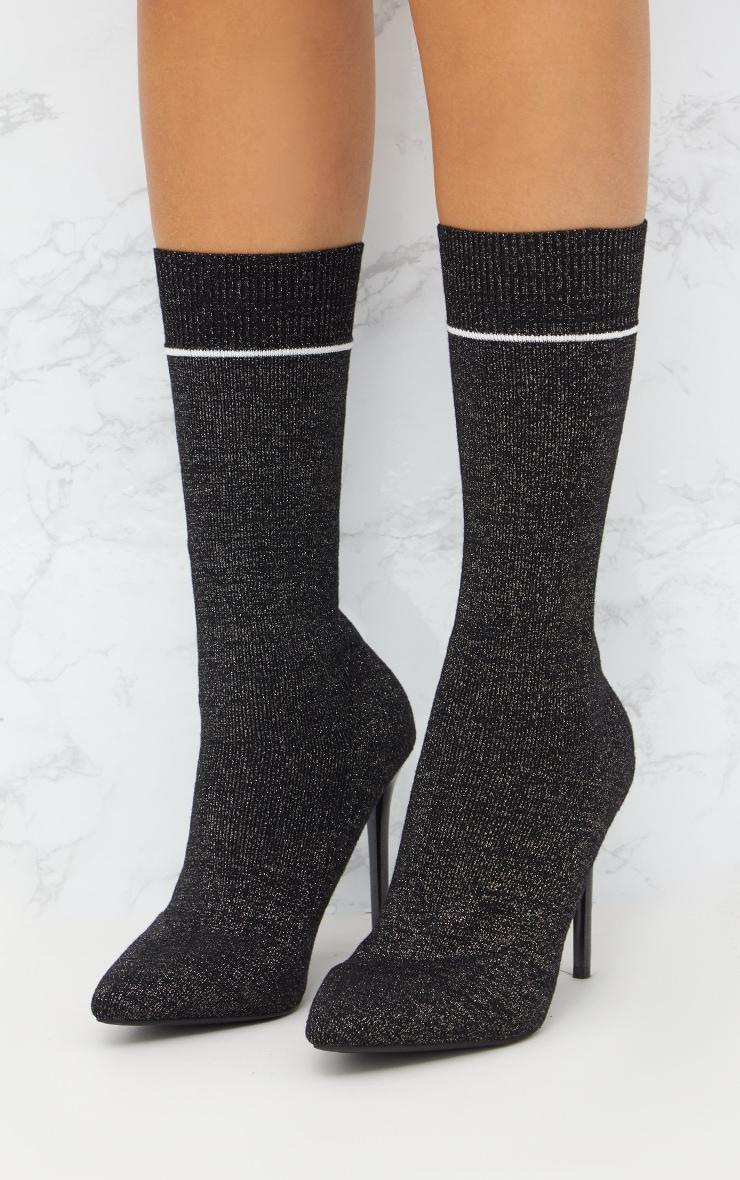 Black Glitter Sports Stripe Sock Boot 2