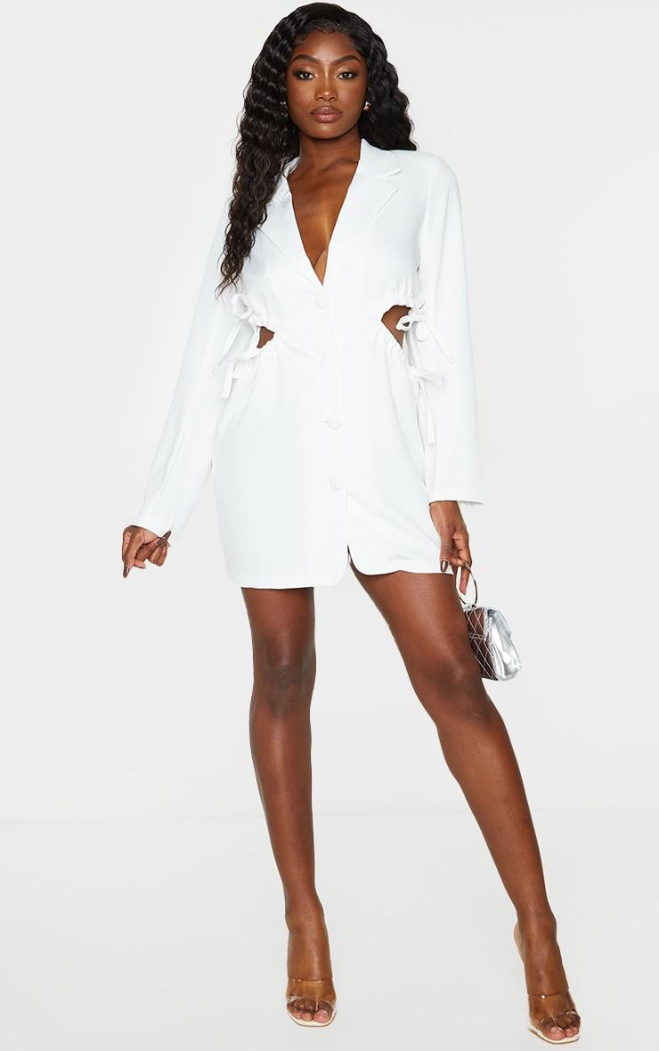 White Cut Out Waist Detail Button Down Blazer Dress 3