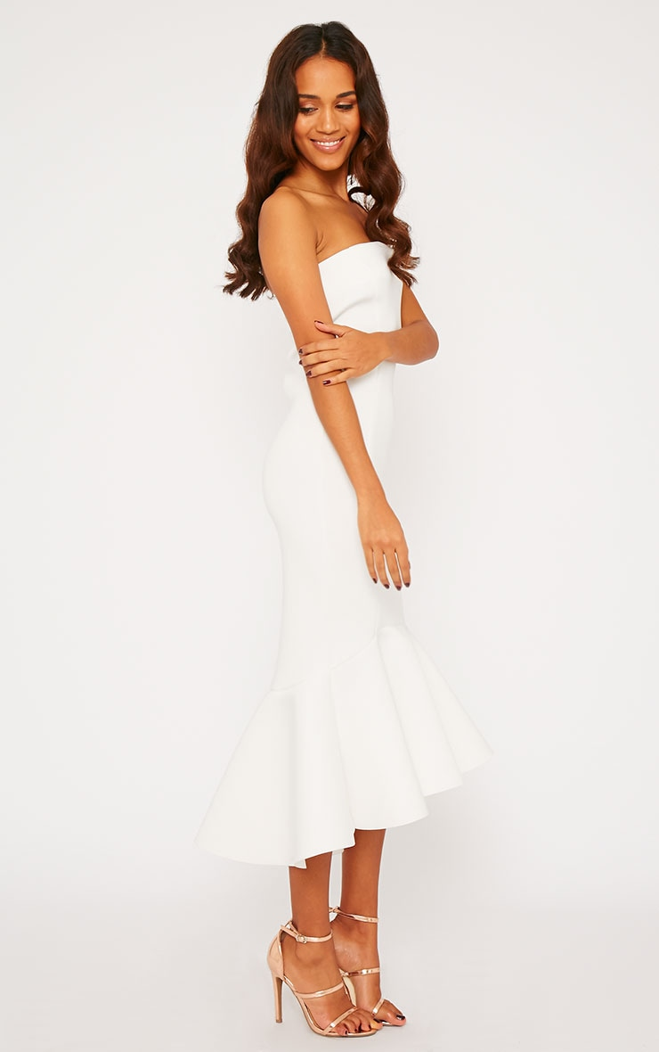 Aisha Cream Bandeau Fish Tail Dress 1