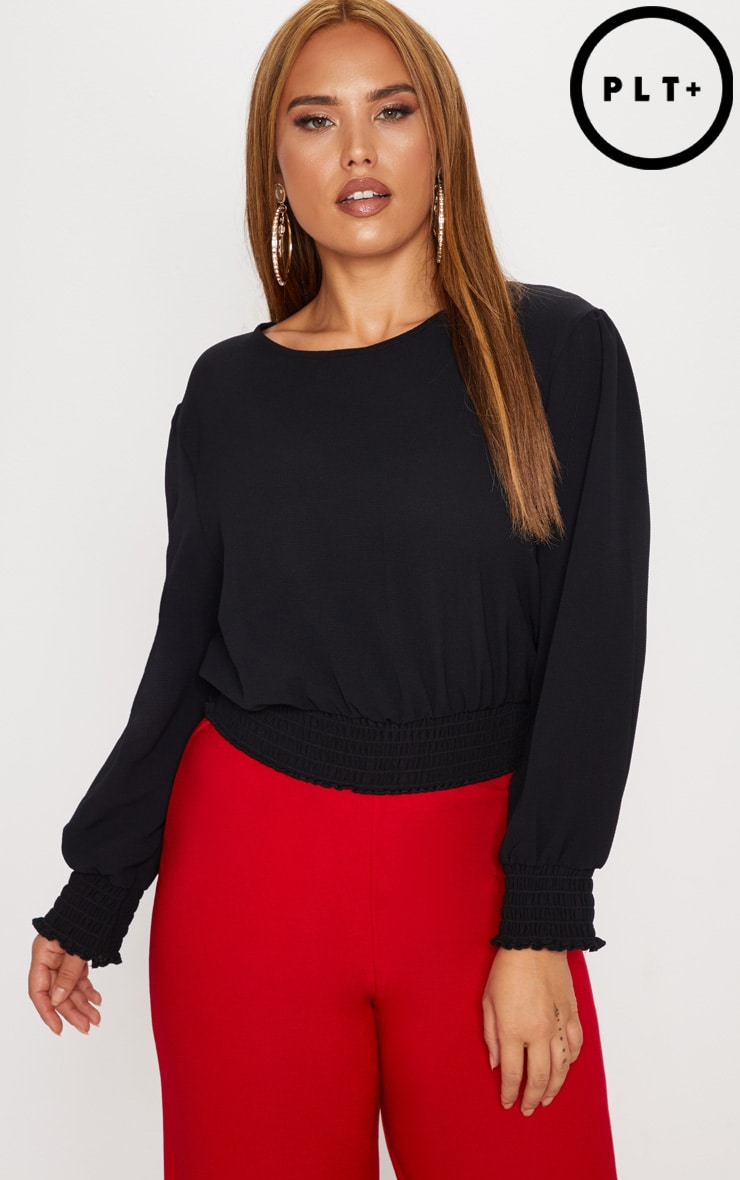 Plus Black Shirred Detail Cropped Blouse