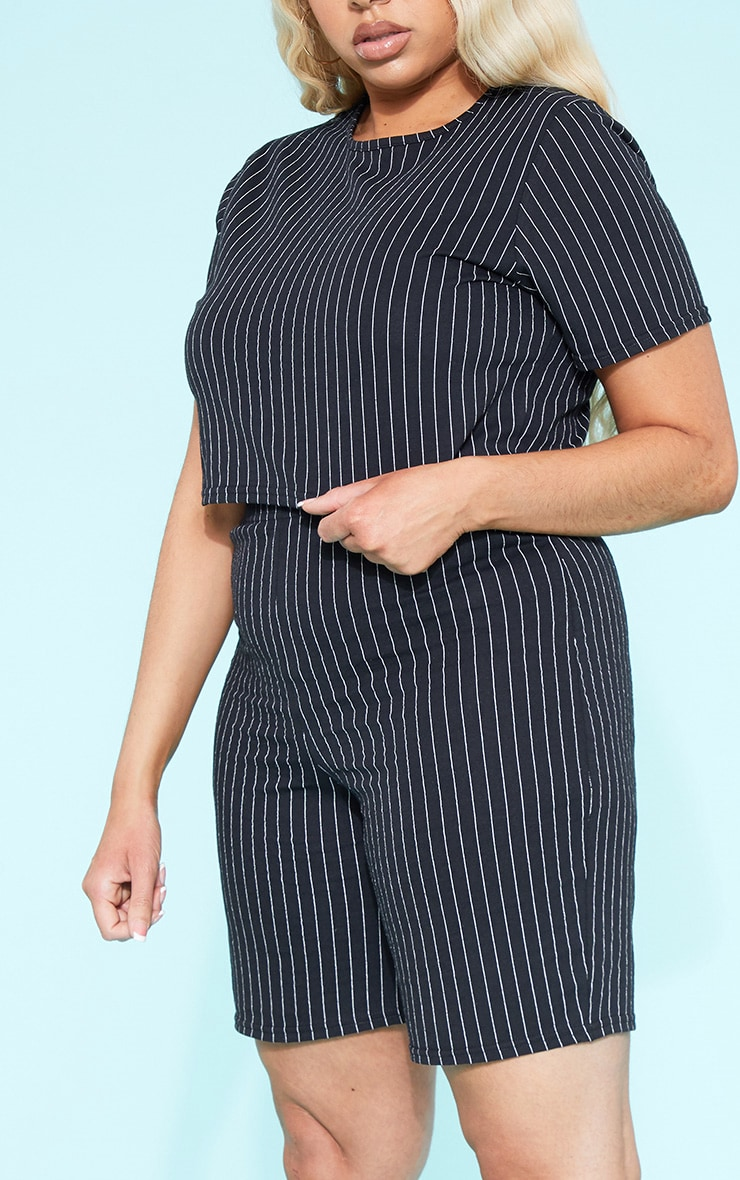 RECYCLED Plus Black Pinstripe Crop T Shirt 6