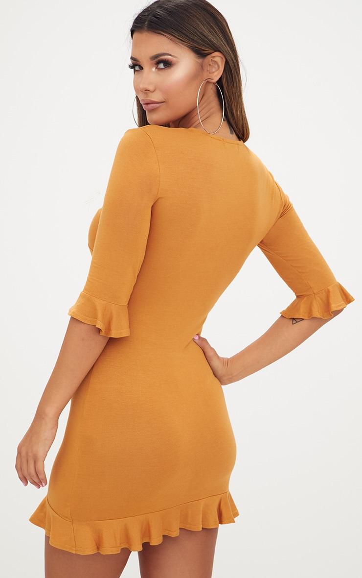 Mustard Frill Hem Shift Dress 2