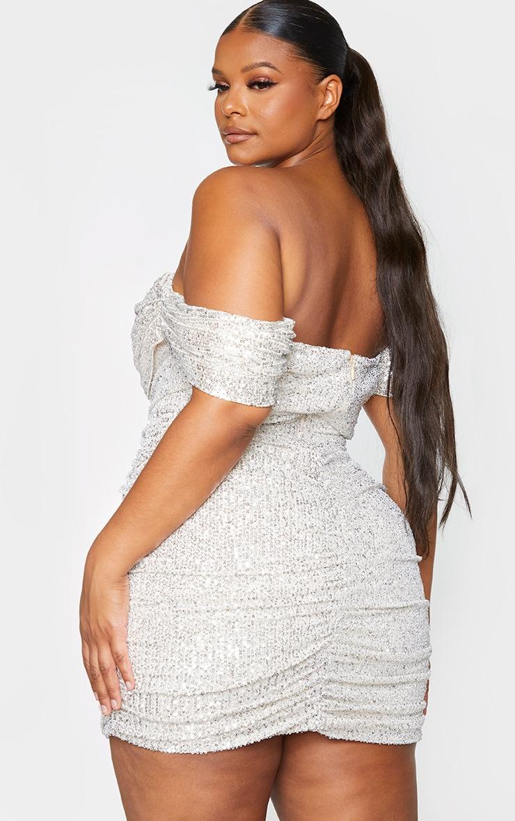 Plus Silver Sequin Bardot Bodycon Dress 2