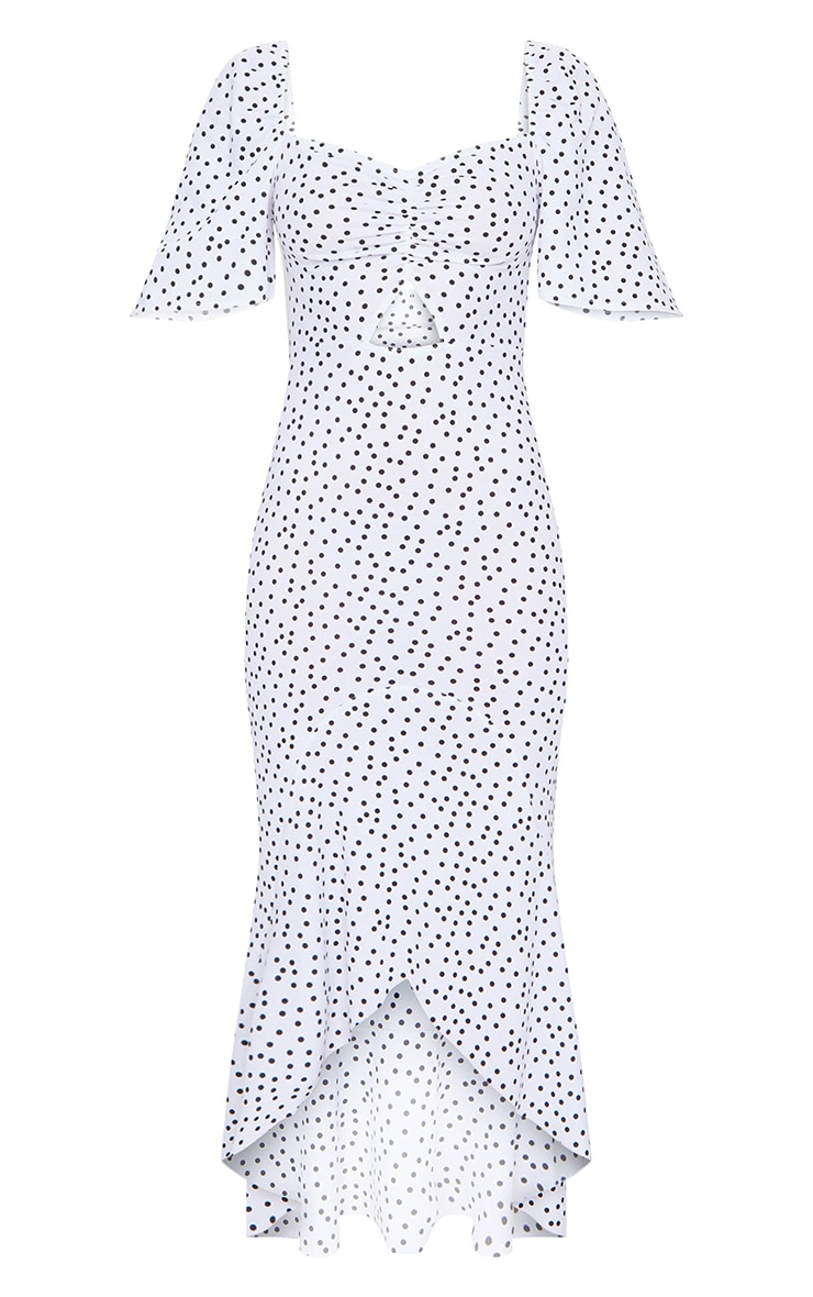 White Polka Dot Ruched Bust Short Sleeve Midi Dress 5