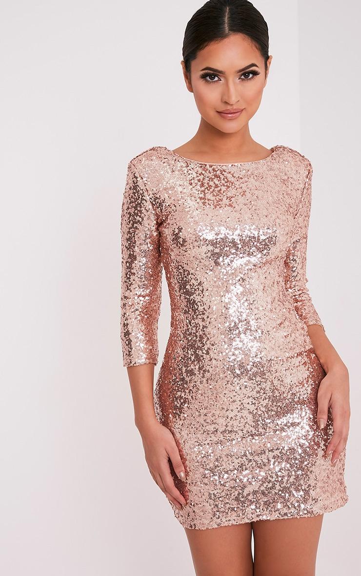 Eida Rose Gold Sequin Bodycon Dress 5