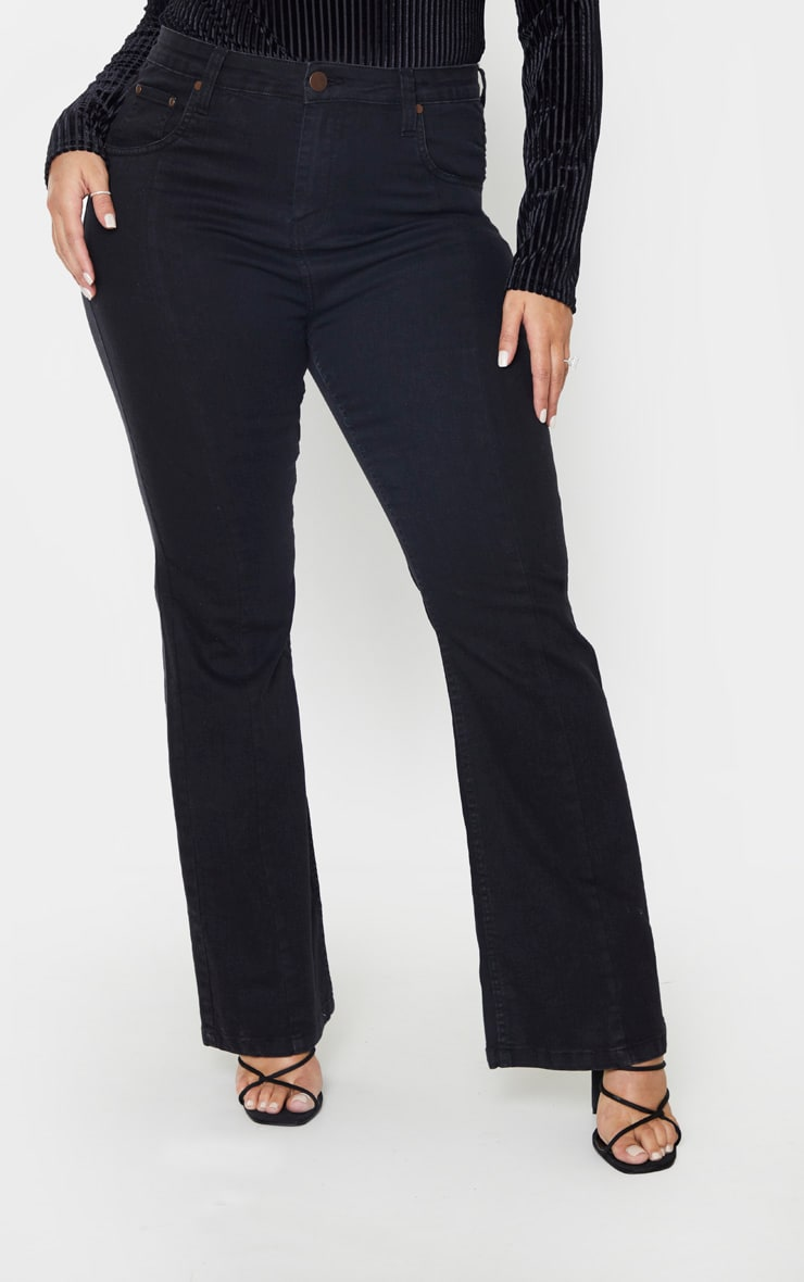 Plus Black Seam Detail Wide Leg Jean 2