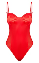 Red Shine Slinky Strappy Thong Bodysuit image 3 be403fd43