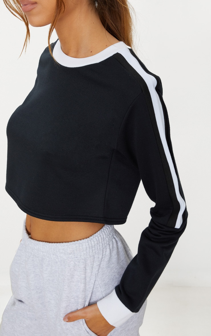 Black Triple Shoulder Stripe Crop Sweater  5