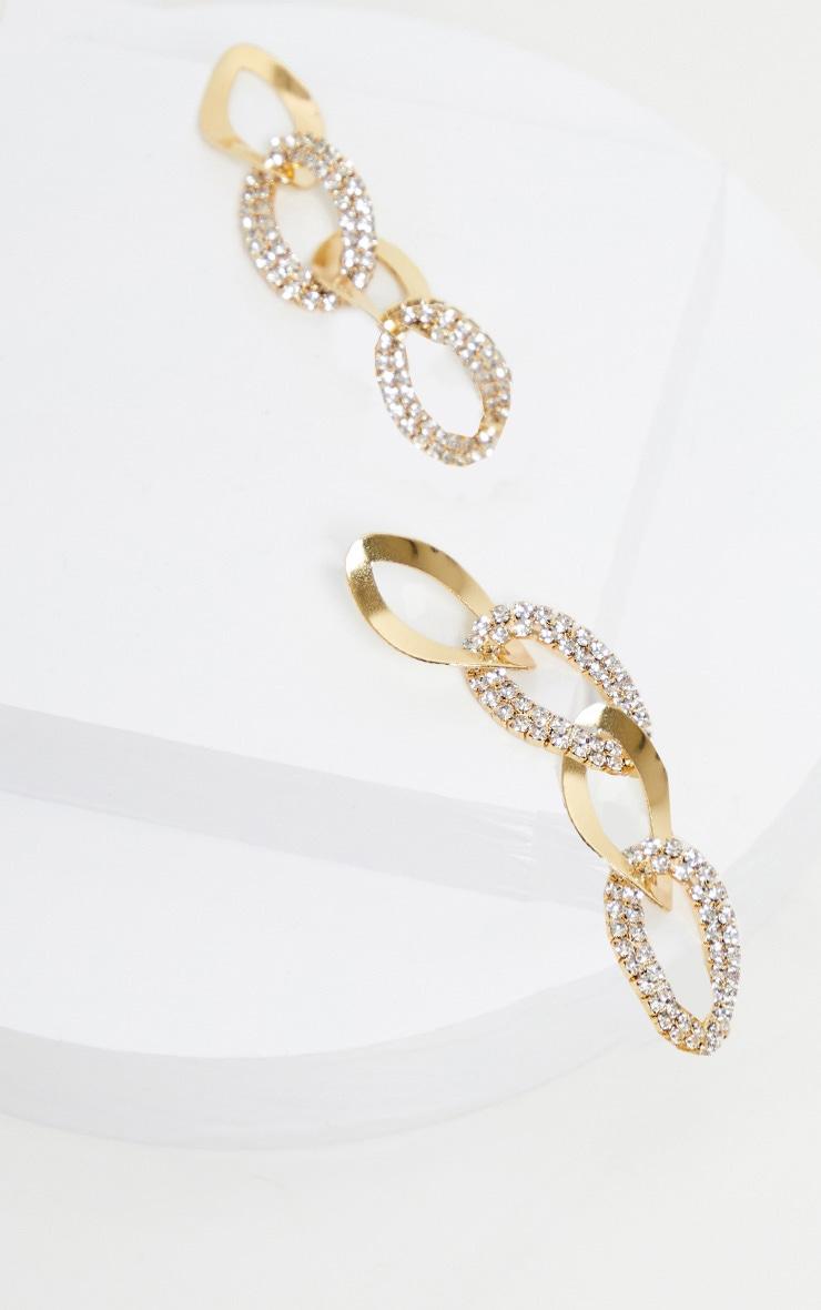 Boucles d'oreilles pendantes dorées maillons strassés 2
