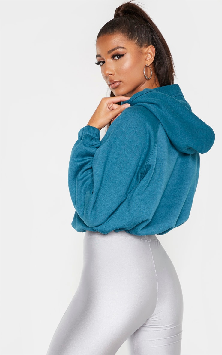 Teal Button Front Oversized Hoodie 2