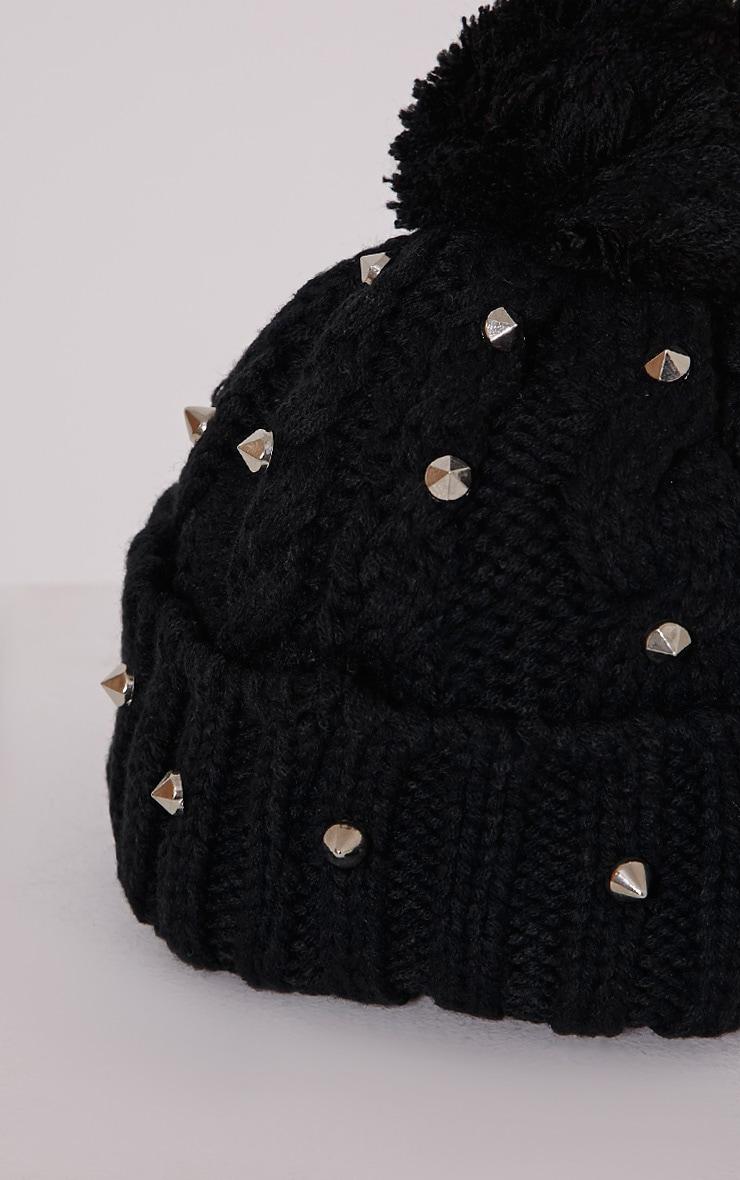 Giah Black Stud Beanie Hat 4