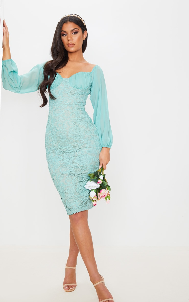Mint Chiffon Cup Insert Lace Midi Dress