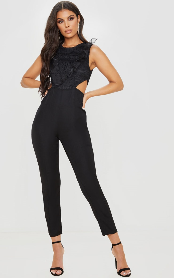 Black Mesh Shoulder Cut Out Detail Jumpsuit 1